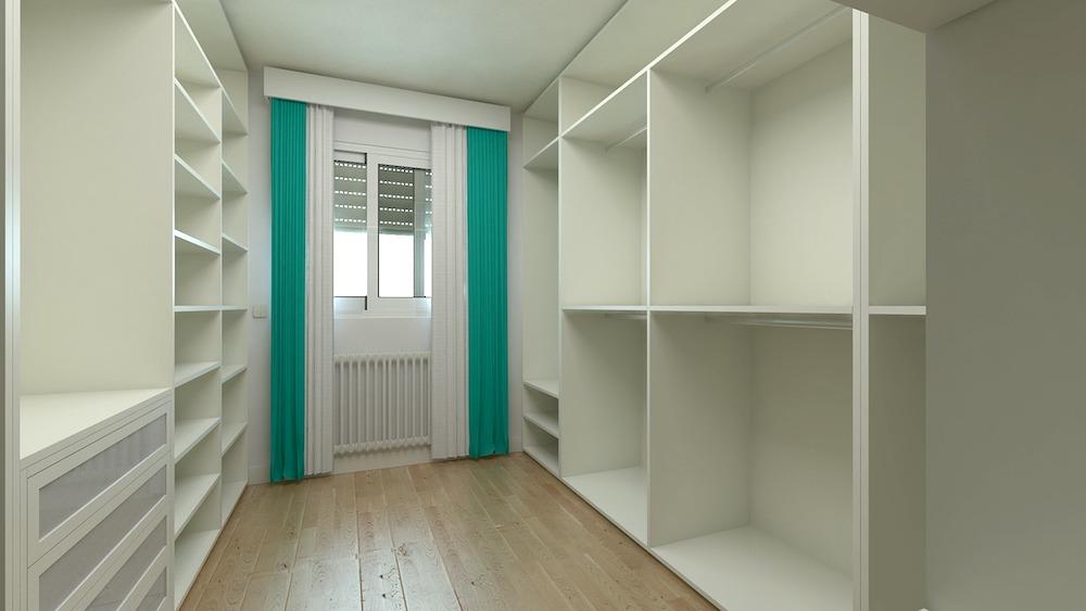 Custom shelves in walk in closet.