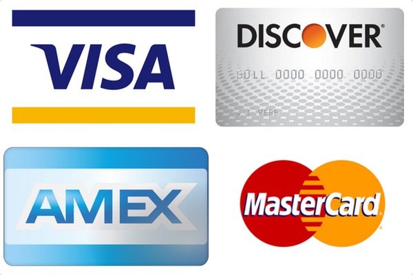 We accept Visa, Mastercard, Discover and American Express credit cards.